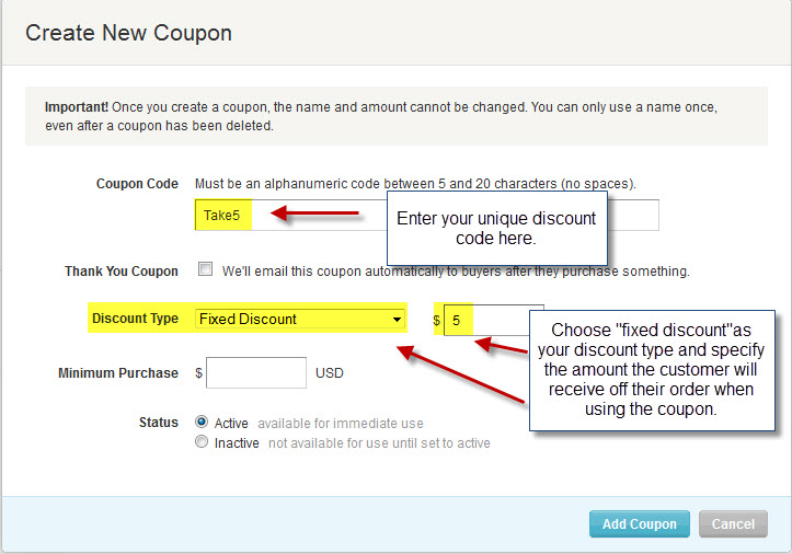 how to delete sale coupon on etsy